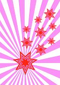 A funky stars background illustration with red stars on a pink and white sunburst background poster