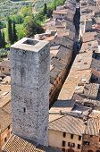 Tuscan medieval village San Gimignano view from the tower Italy poster