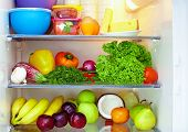 refrigerator full of healthy food. fruits and vegetables poster