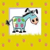 cartoon donkey with raspberries,fruity animal,children vector illustration on green background,picture for babies and little kids poster