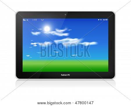 Tablet Pc. Vector. Horizontale. Blauer Himmel Hintergrund