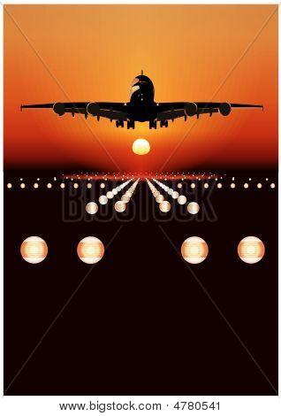 Vector Airbus Landing At Sunset
