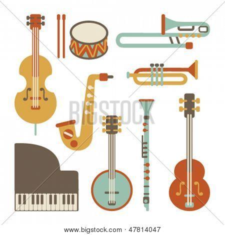 Jazz instruments set. isolated on white