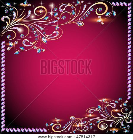 The Background  With Precious Stones, Gold Pattern