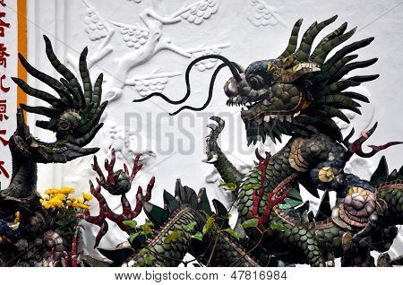 Dragons at Buddhist temple in Hoi An, Vietnam