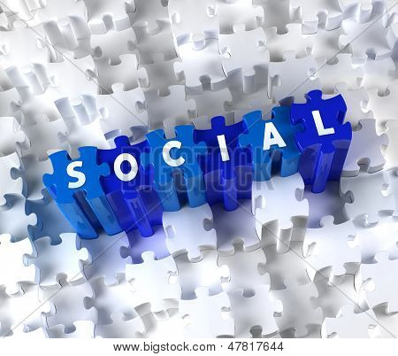 Creative 3D pieces of puzzle and word SOCIAL