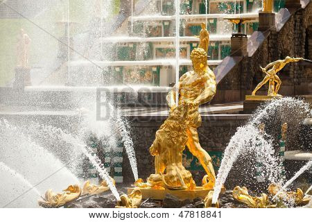 PETERHOF, RUSSIA - JULY 1: Grand Cascade Fountains at Peterhof Palace, Russia, May 1, 2012 in Peterhof, Russia. The name was changed to Petrodvorets in 1944, the original name was restored in 1997.