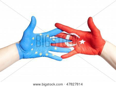 Turkey And European Hands Holding