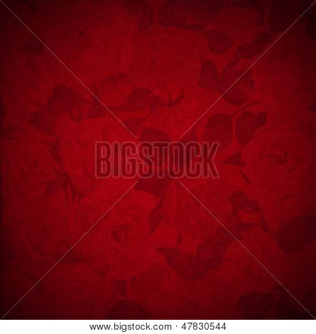 Red Velvet Background - Roses Flowers