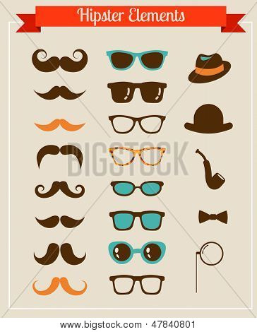 Hipster Vintage retro set of icons and illustrations