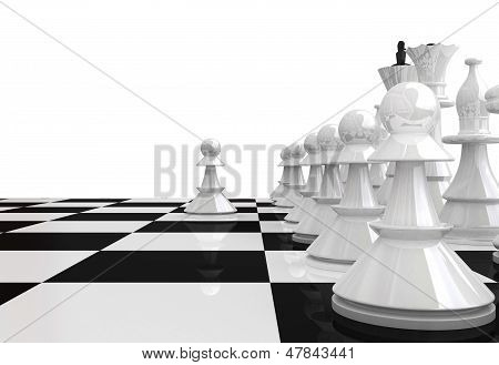 White Chess Pieces - 3D Render