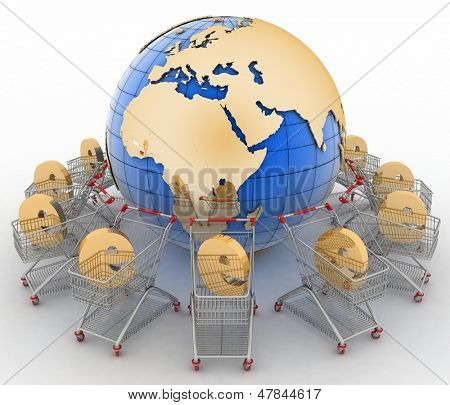e-commerce sign in a trolley round globe on a white poster