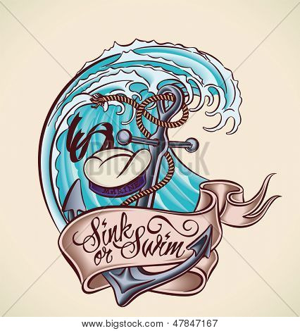 Vintage tattoo design with anchor, sailor's hat, banner and wave.Raster image. Find an editable version in my portfolio.