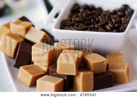Fudge And Coffee Beans On A Plate