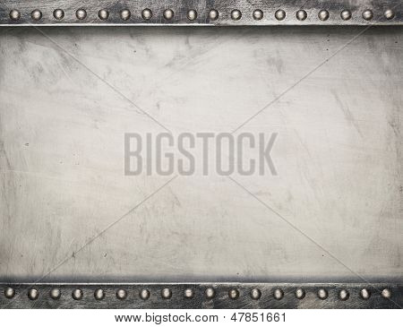 Industrial metal plate background with rivets