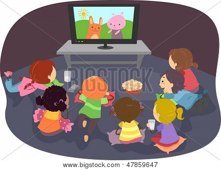 Illustration of Stickman Kids Watching Cartoons