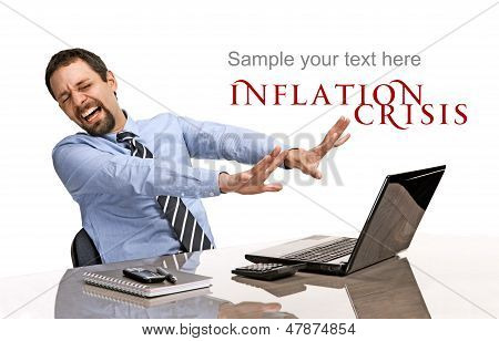 distraught businessman with a laptop - isolated on white background