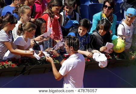 BARCELONA - APRIL, 24: French tennis player Edouard Roger-Vasselin autograph signing after of a match of Barcelona tennis tournament Conde de Godo on April 24, 2013 in Barcelona