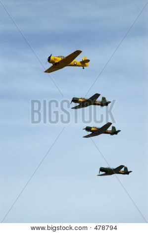 formation flying. lead by the at6 texan. the three green coloured planes are chinese nanchang warbirds. poster