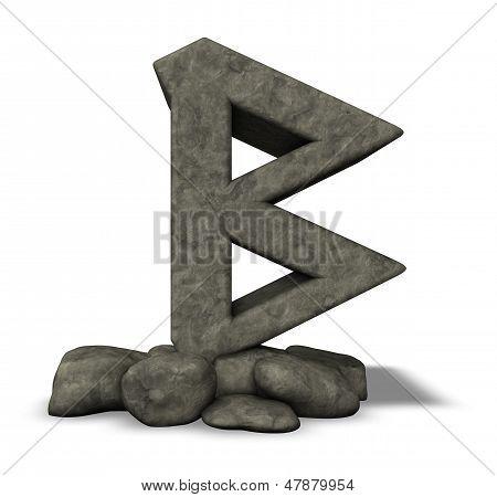 stone rune on white background - 3d illustration poster