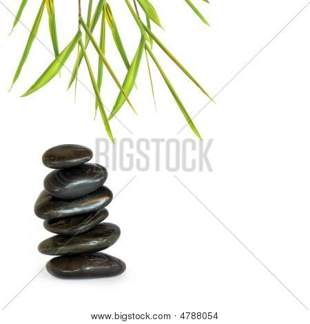 Spa Stones And Bamboo Grass