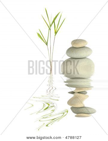 Zen garden abstract of bamboo leaf grass and grey spa pebbles in perfect balance with reflection over rippled water against white background. poster