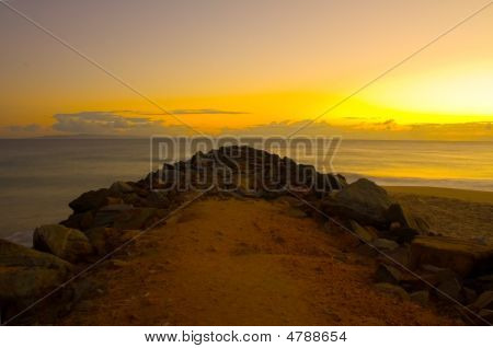 Sunrise At Noosa Beach Breakawater