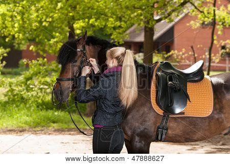 Girl Bridles Her Horse