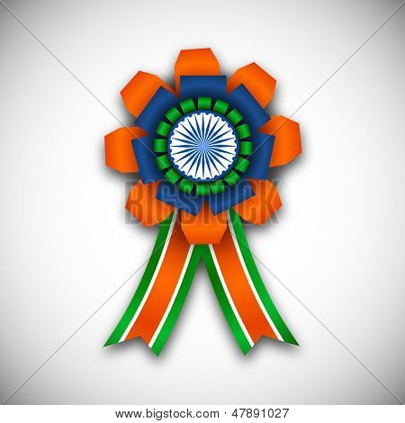 Indian independence day or republic day concept with badge in Indian tricolors.