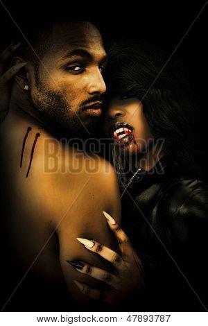 Sexy Black Vampire Couple in the Dark