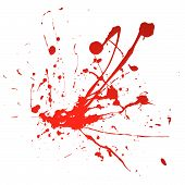 Blood spray splat isolated over a white background poster