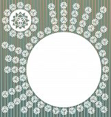 gray floral frame with striped and gradation color poster