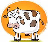 Sketch style cartoon illustration of Cow with Orange background poster