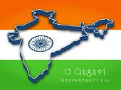 Republic of India map on national flag background for Independence Day. poster