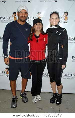 Amaury Nolasco with Eva Longoria and Jennifer Morrison at the Padres Stand For Hope 5k Charity Run-Walk. Los Angeles Memorial Coliseum, Los Angeles, CA. 03-21-09