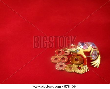 Background With Gold Frog Protecting Coins