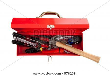 Red Metal Toolbox With Tools