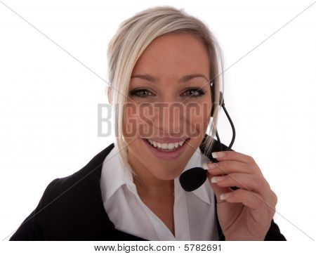 Young Call-center Operator isolated on white blonde