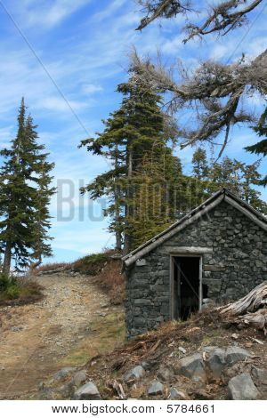 Stone shack in the mountains