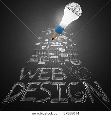 Creative Design Hand Drawn Web Icon As Pencil Lightbulb Brain 3D As Web Design Concept