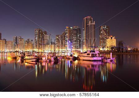 Sharjah Creek At Night