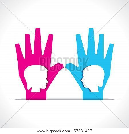 male and female face on palm