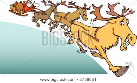 vector illustration of santa claus on sledge and reindeers poster