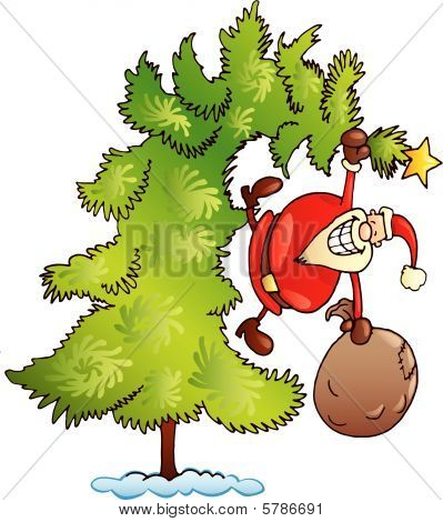santa claus on christmas tree