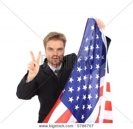 Businessman And Usa Flag