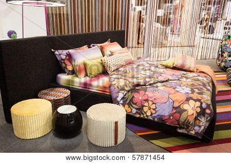 Missoni Bed Linen On Dispaly At Homi, Home International Show In Milan, Italy