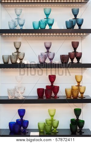 Glasses On Display At Homi, Home International Show In Milan, Italy