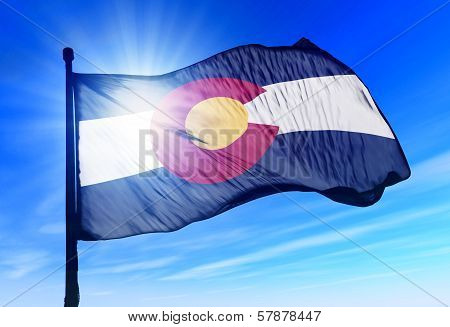 Colorado (USA) flag waving on the wind