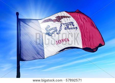 Iowa (USA) flag waving on the wind