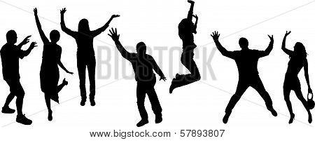 Vector silhouette dancing people